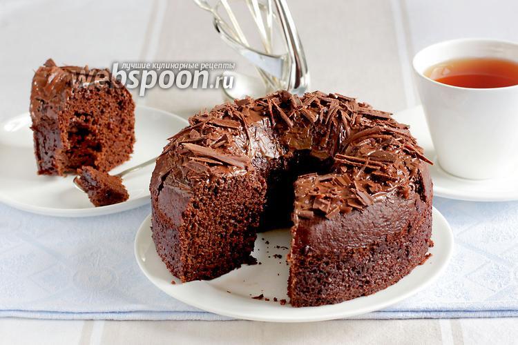 Фото Влажный шоколадный пирог без яиц