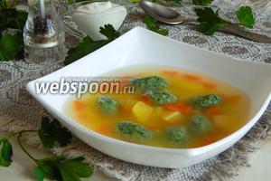 Овощной суп с галушками из шпината