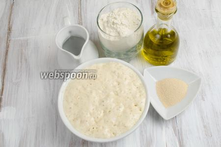 Когда подойдёт опара, необходимо приготовить тесто. Для этого нужно взять: опару, муку, воду тёплую, дрожжи, масло оливковое, соль.