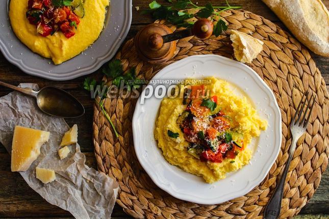 Фото Полента с жареными овощами и Пармезаном