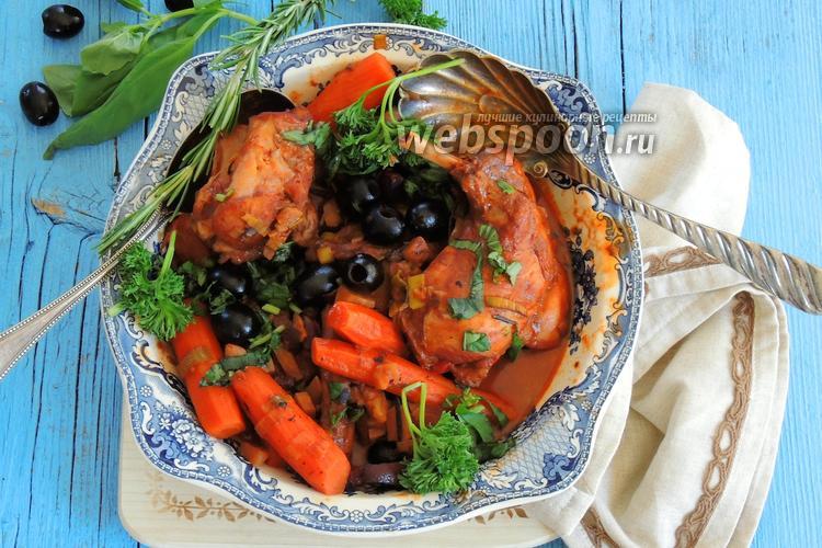 Фото Кролик с овощами в красном вине