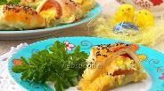 Фото рецепта Пасхальное кольцо с сыром, ветчиной и яйцами