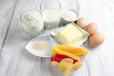Чтобы приготовить бублики, нужно взять муку, молоко, дрожжи, сахар, яйца, сливочное масло, соль, цукаты(имбирные, дыня, папайя), топлёное масло для помазки перед выпечкой.