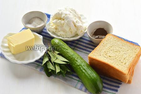 Для приготовления сэндвичей нам понадобится тостовый хлеб, нежный творог, сливочное масло, свежая мята, огурец, соль, перец