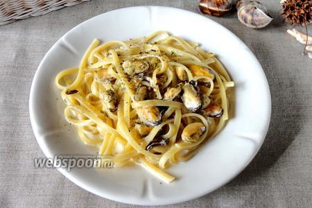 Феттучини с мидиями в сливочно-ореховом соусе