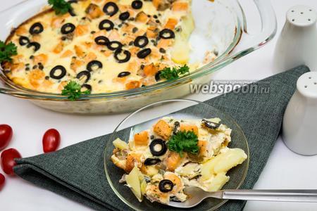 Картофельная запеканка с сёмгой