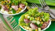 Фото рецепта Лёгкий салат с куриными сердечками