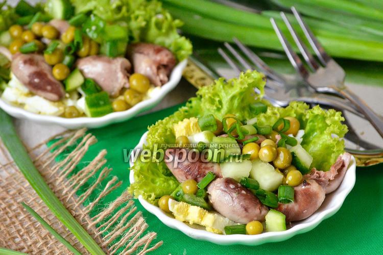 Фото Лёгкий салат с куриными сердечками