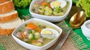 Фото рецепта Суп с куриными сердечками и яйцами