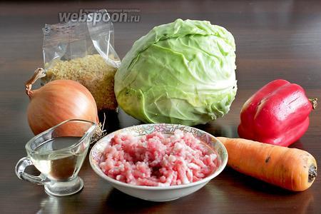 Для приготовления голубцов из молодой капусты возьмём небольшой вилок капусты, булгур, морковь, томатную пасту, помидоры в собственном соку, лук, растительное масло, фарш домашний из свинины, перец болгарский, зелень.