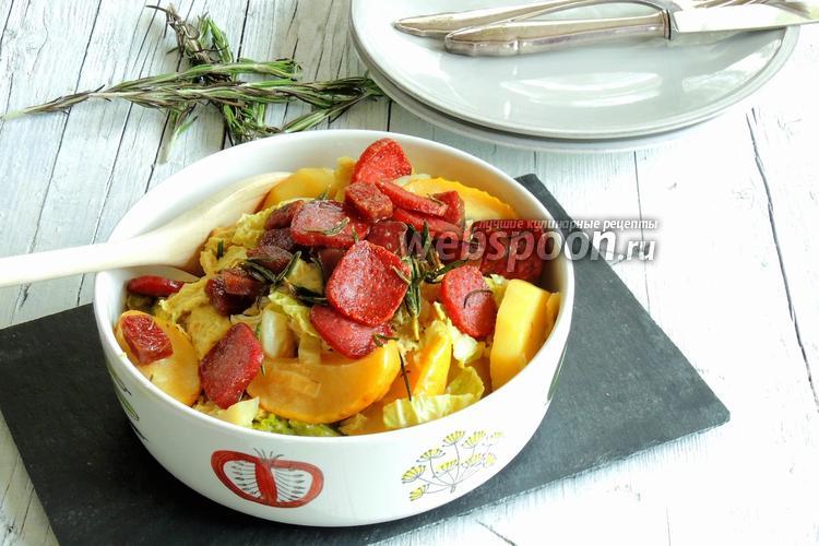 Фото Яблочно-капустный топф с сухой колбаской