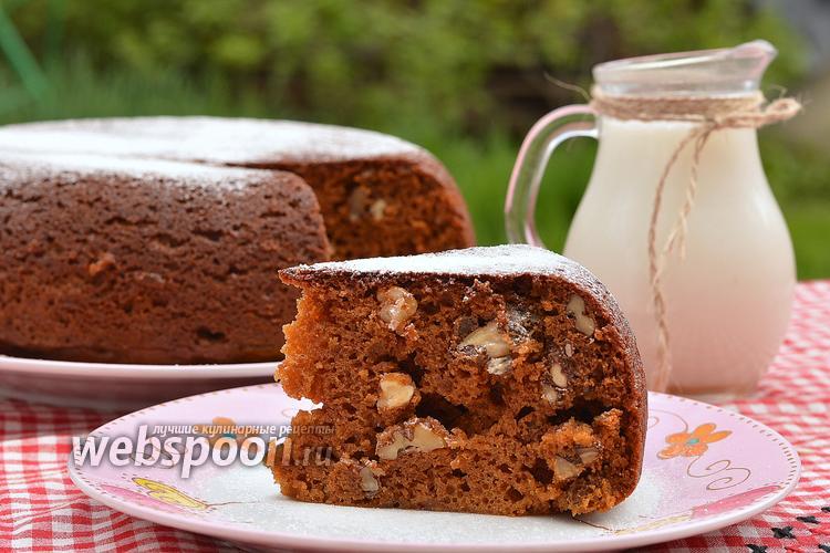 Фото Карамельно-ореховый пирог в мультиварке