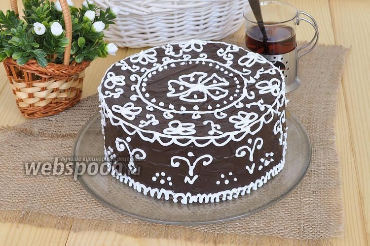 Фото Шоколадный торт «Кружева»