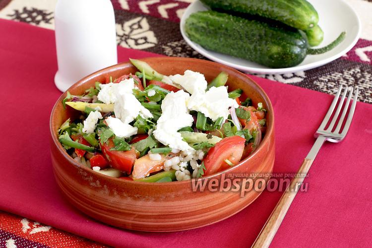 Фото Греческий салат с перловкой и мятой