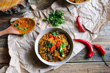 Фото рецепта Дал с красной чечевицей и жареными баклажанами