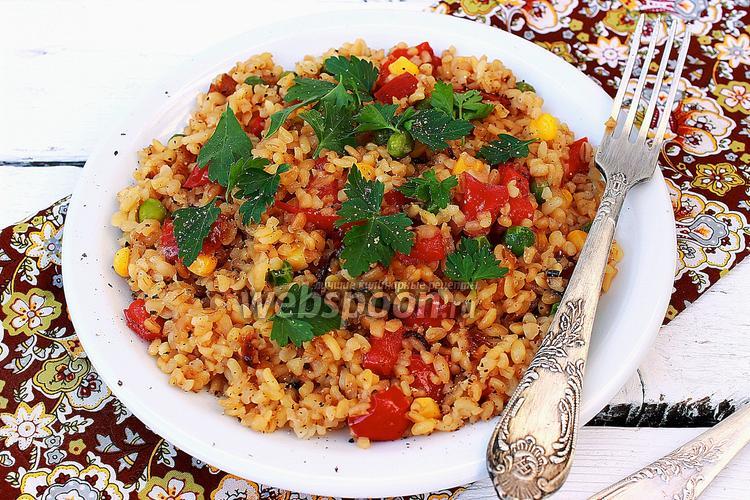 Фото Булгур с овощами и сыром