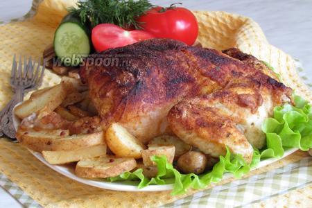 Курица в горчичной шубке с молодым картофелем