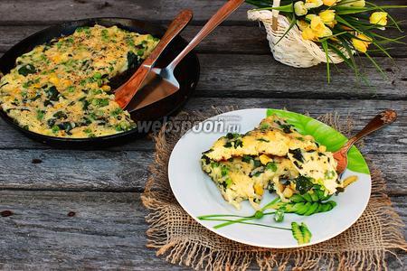 Фото рецепта Фриттата с горошком и шпинатом