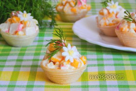 Салат с крабовыми палочками и кукурузой в тарталетках
