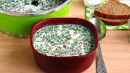 Фото рецепта Окрошка на кефире и минеральной воде с копчёной колбасой