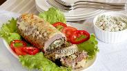 Фото рецепта Фаршированный баклажан в мясной шубке