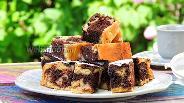 Фото рецепта Мраморный пирог с ревенем