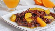 Фото рецепта Шоколадная лапша с апельсиновым соусом