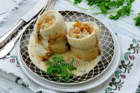 Рыбные рулеты с ревенем и сливочным сыром