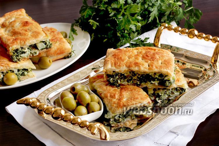 Фото Спанокопита — греческий пирог со шпинатом