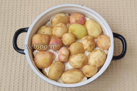 Творог выложить поверх картофеля, а сверху оставшийся картофель.