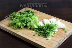 Листья зелёного салата нарезать широкими лентами или порвать руками. Лук репчатый нарезать перьями и промыть водой. Зелёный нарезать наискосок. Кинзу измельчить.