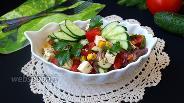 Фото рецепта Овощной салат с брынзой и кукурузой