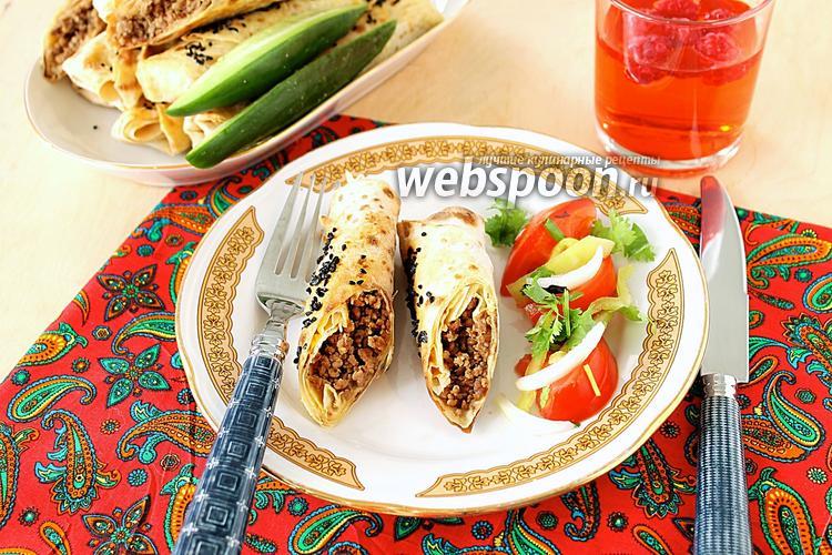 Фото Пирожки из лаваша в духовке с фаршем