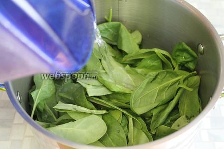 Шпинат (250 г) промыть, положить в кастрюлю, залить водой, чтобы она покрыла листья.