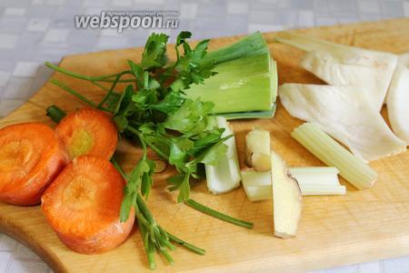 Овощи крупно порезать.