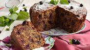 Фото рецепта Ореховый пирог с чёрной смородиной
