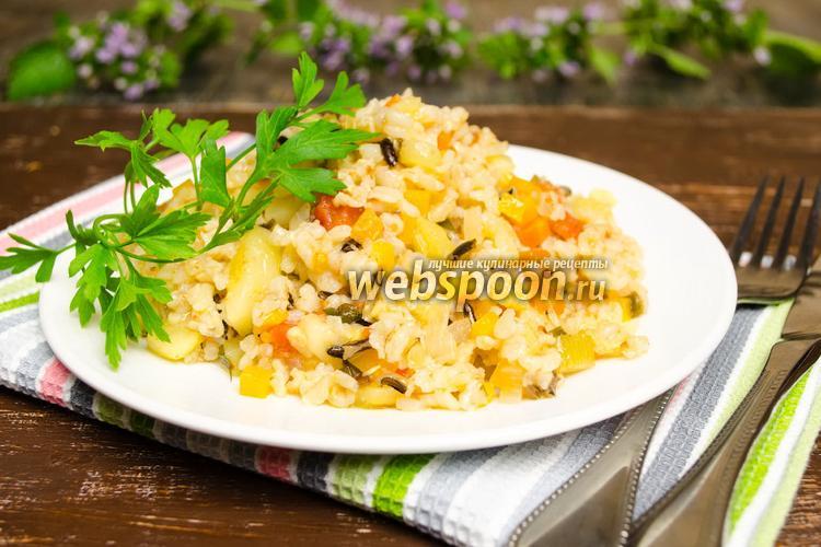 Фото Бурый рис с цукини в мультиварке