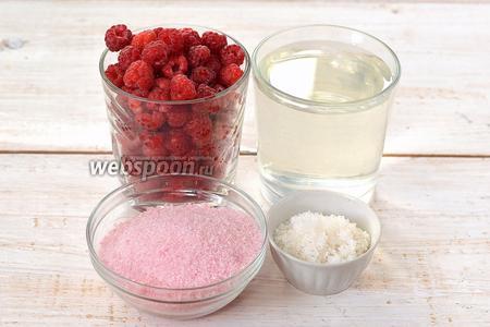 Для приготовления малиновых суфлейных кубиков нам понадобится малина, сахар, малиновое желе, вода.