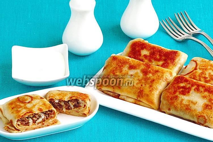 Фото Блинчики с начинкой из куриных желудочков и риса