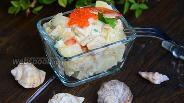 Фото рецепта Тёплый салат из картофеля и консервированного кальмара