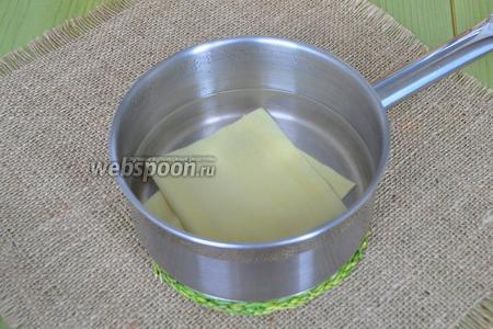 Листы лазаньи опустить в кипяток на 2-3 минуты. Варить на медленном огне. Если ваша паста не требует варки, то этого можно не делать.