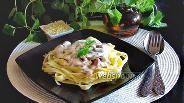 Фото рецепта Феттучини с грибами и ветчиной