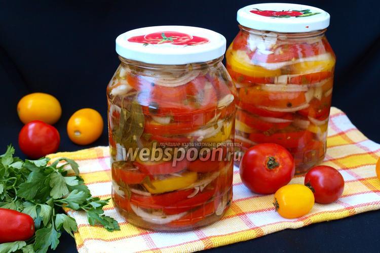 Фото Салат из помидоров с луком на зиму