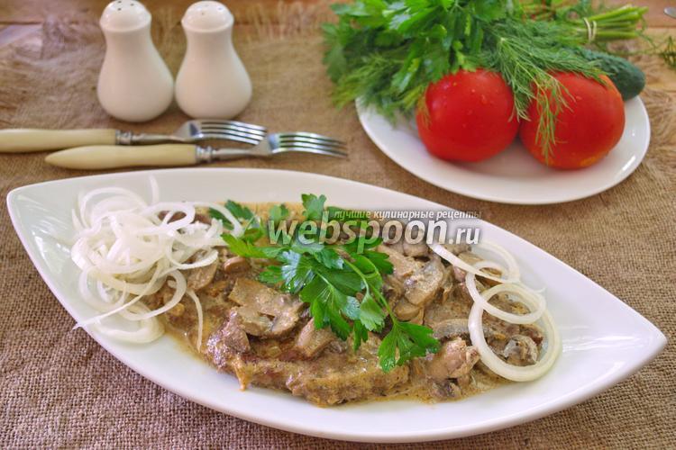 Фото Люля-кебаб с моцареллой в сливочно-грибном соусе