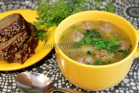 Суп гречневый с фрикадельками и грибами