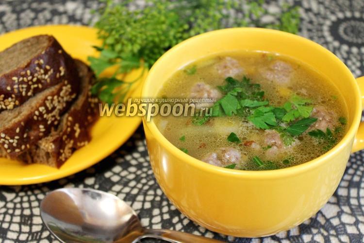 Фото Суп гречневый с фрикадельками и грибами