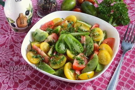 Салат  «Светофор» из трёх видов помидоров