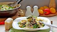 Фото рецепта Паста с грибами и спаржей в сливочном соусе