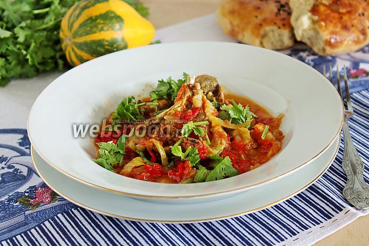 Фото Баранина с перцем и помидорами