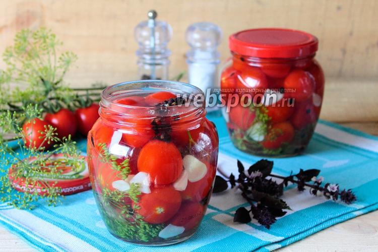 Фото Быстрые маринованные помидоры черри